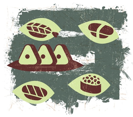 Vintage Sushi illustration with Grunge Effect Vector