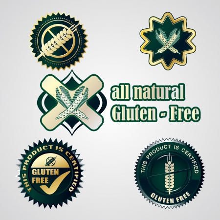 Gluten free food labels collection Vector