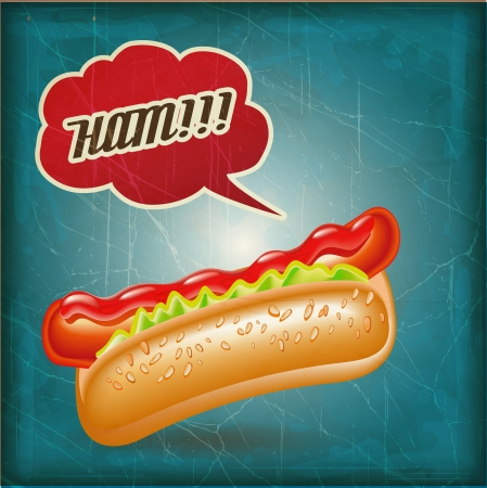 hot dog: vintage hot dog illustration with Grunge Effect