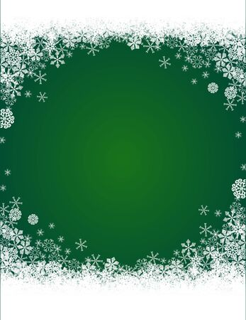 Christmas green background with snowflakes pattern Stock Vector - 15414776
