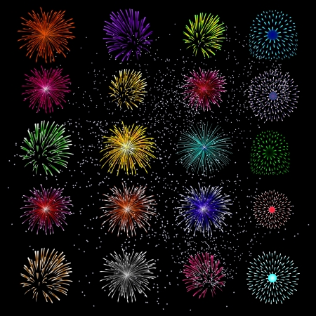 Brightly ColorfulFireworks and Salut on black background