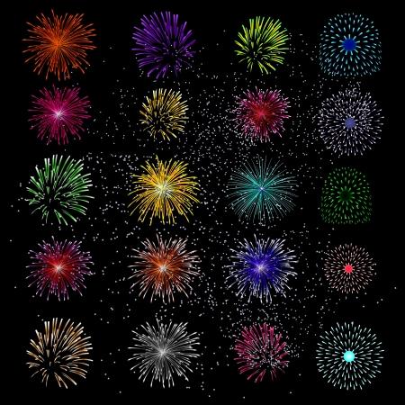 ColorfulFireworks brillantes y Salut sobre fondo negro