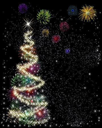 Árbol de navidad con estrella hecha con luces de bengala y fuegos artificiales Vectores