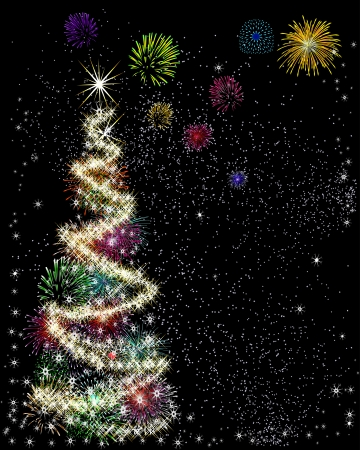 Christmas tree with star made using sparklers and fireworks Illustration