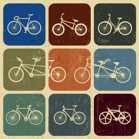 bicycle pedal: banner Vintage bicycles with grunge effect Illustration