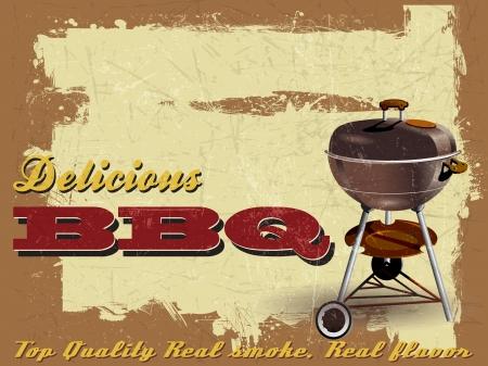 grill meat: Illustration vintage de barbecue Partie Grunge Effet