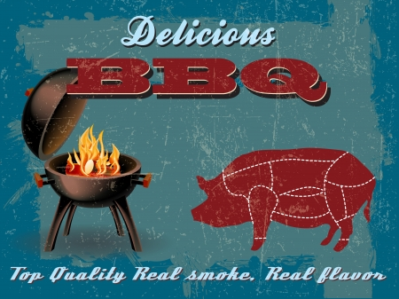 bbq: Vintage BBQ Grill Party illustration with Grunge Effect