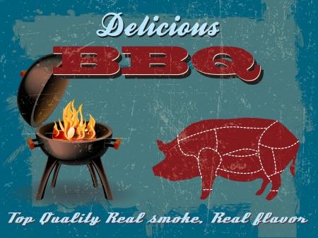 beef steak: Vintage Grill BBQ Party ilustraci�n con efecto grunge Vectores