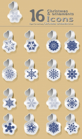 set of paper cut and hanging Christmas and snowflake Stock Vector - 15472573