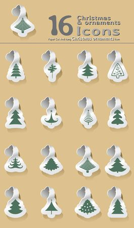 set of paper cut and hanging Christmas tree Stock Vector - 15472572