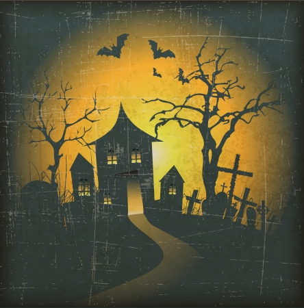 halloween tree: Halloween Background with haunted house and Grunge Effect Illustration