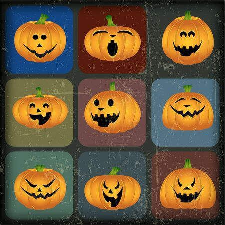 Halloween Pumpkins with Grunge Effect Vector