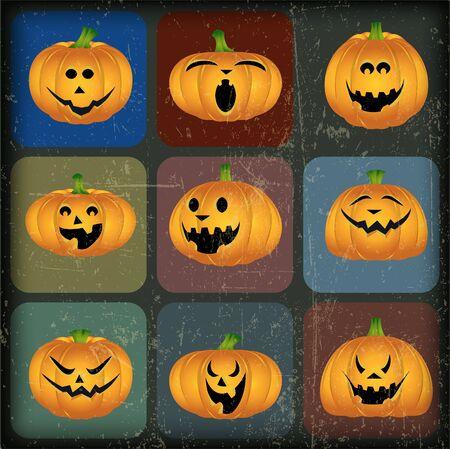 jack o lantern: Halloween Pumpkins with Grunge Effect Illustration