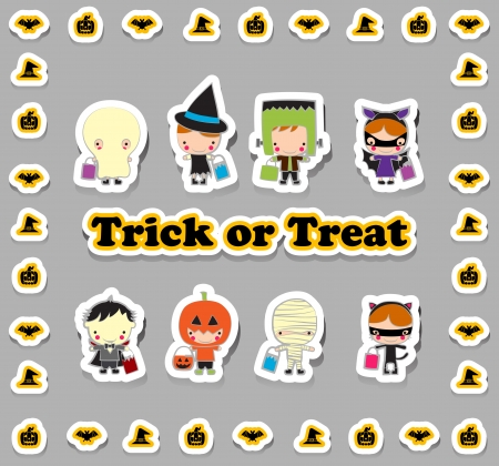 kids costume: Kids in Halloween trick and treat Cartoon set Illustration