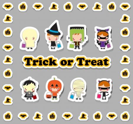 Los niños en Halloween y truco conjunto de dibujos animados regalo