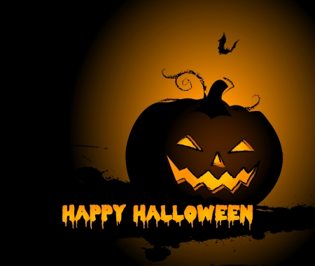 Halloween Pumpkin background and bat Vector
