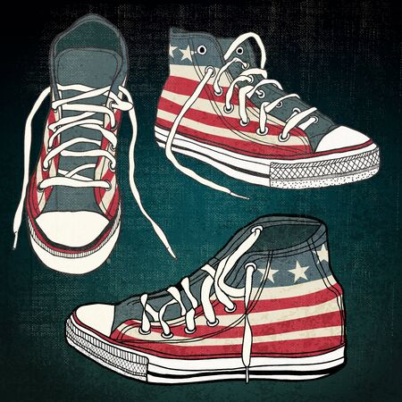plimsoll: shoes with american stars and stripes with grunge effect Illustration