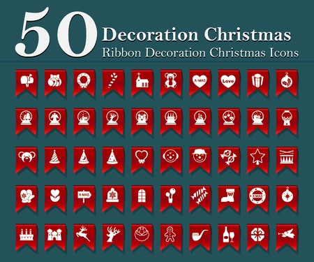 Christmas decoration icons set on red ribbon Vector