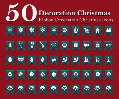 Christmas decoration icons set on blue ribbon Stock Vector - 15587294