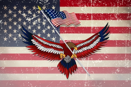 patriotic usa: Usa flag with eagle with grunge effect