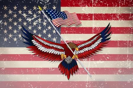 Usa vlag met adelaar met grunge effect Vector Illustratie