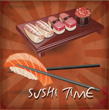 gourmet: drawing of the sushi with grunge effect