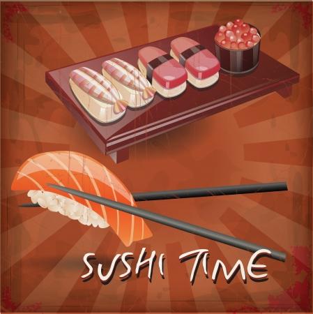 Zeichnung der Sushi mit Grunge-Effekt