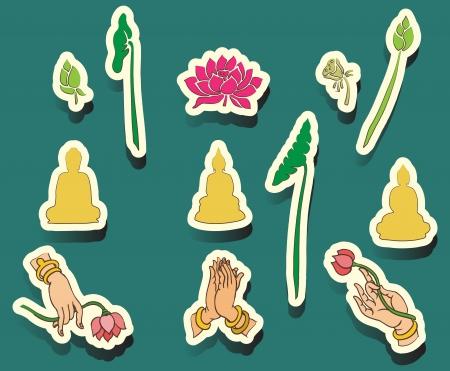 Set Oriental icons, Buddha, Symbol Illustration