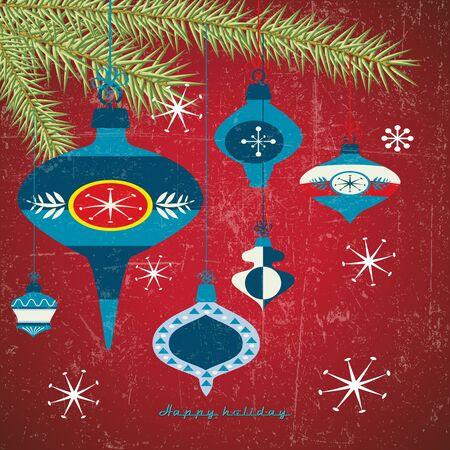 Vintage card with retro Christmas balls Stock Vector - 15644847