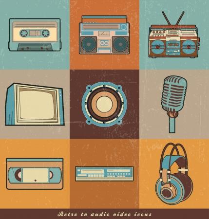 audio del televisor retro, los iconos de vídeo