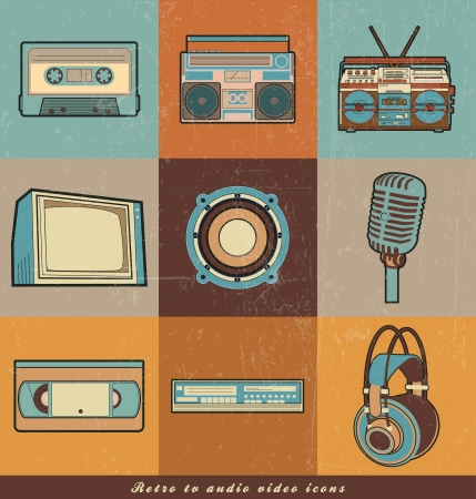 retro TV audio, Video icons