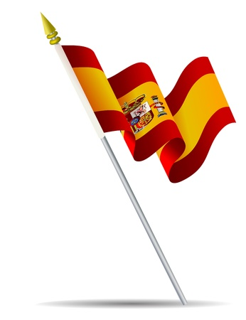 Flag of Spain with flagpole Stock Vector - 15712087