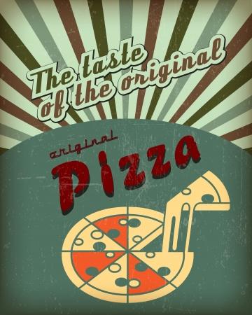 Cartel Retro Vintage Pizza con efecto grunge