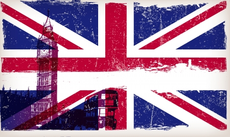 United Kingdom flag with big ben and Grunge Effect Vector