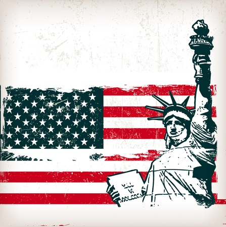 illustration of the american flag with the Statue of Liberty with grunge effect Stock Vector - 15732325