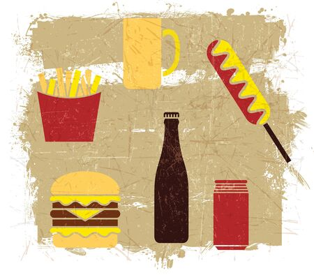 Hamburgers Hot Dogs French Fries beer with grunge effect Vector