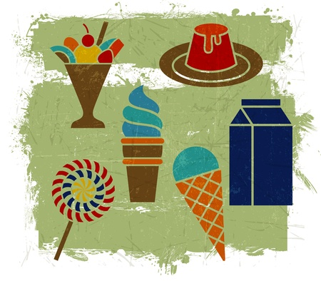 various ice cream desserts with grunge effect Stock Vector - 15732321