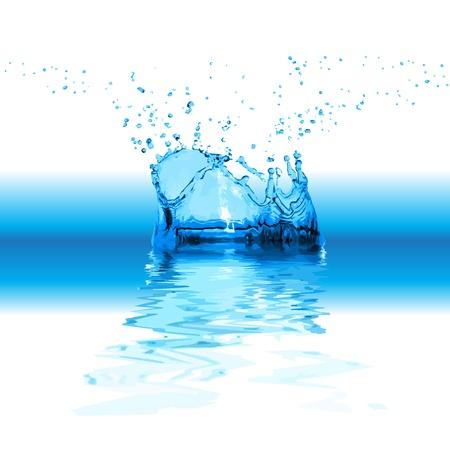 flowing water: Splash agua aisladas sobre fondo blanco Vectores