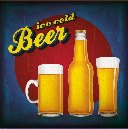 Vintage beer poster with grunge effect Illustration