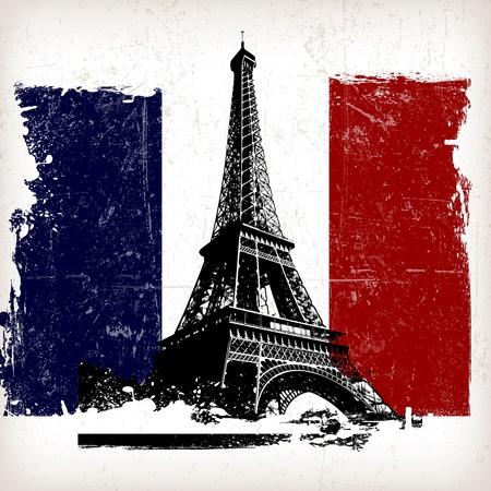 Abbildung Eiffelturm über Frankreich Flagge mit Grunge-Effekt