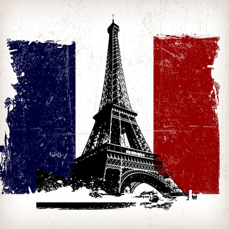 paris vintage: ilustración torre Eiffel sobre Francia, marca con efecto grunge