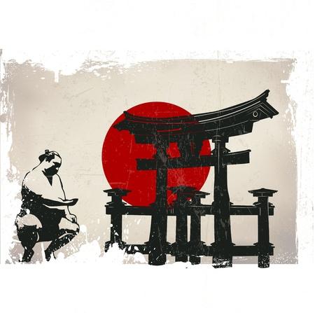 torii: Miyajima Torii, sumo, bandera de Jap�n con efecto grunge Vectores