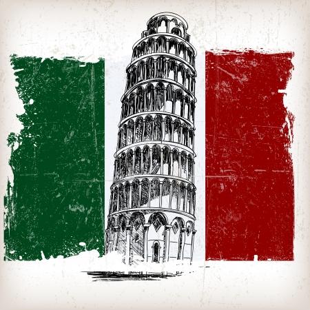 bandera italiana: Torre inclinada de Pisa en la bandera italiana con efecto grunge Vectores