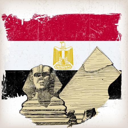 sfinx: Sphinx, piramide op Egypte vlag met grunge effect Stock Illustratie