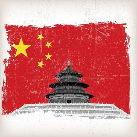 illustratie Tempel van de Hemel China vlag met grunge effect Stock Illustratie