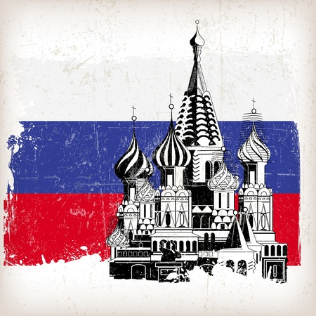 moscow churches: Saint Basil's Cathedral Russian flag with grunge effect Illustration