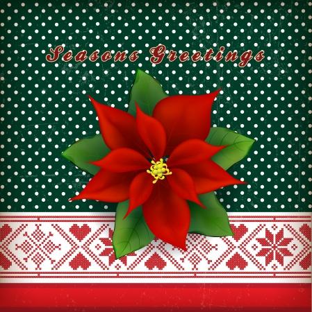 Christmas card with Christmas flower poinsettia Stock Vector - 15758426
