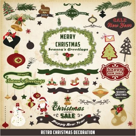 Retro-und Vintage Weihnachtsdekoration Sammlung Illustration