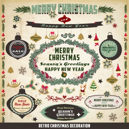 retro and vintage Christmas decoration collection Vector
