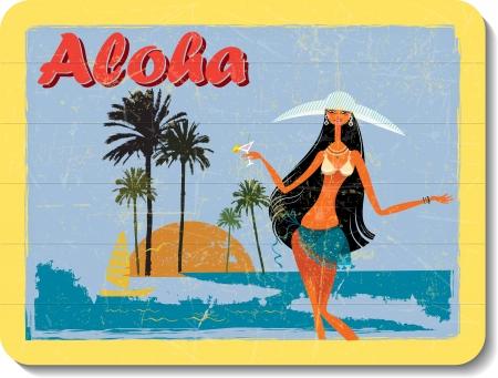 hawaiian: vintage wooden decoration wall with aloha
